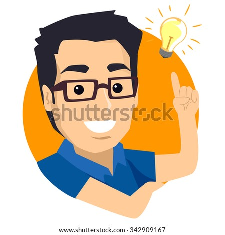 Illustration of a Man think of New Idea - stock vector