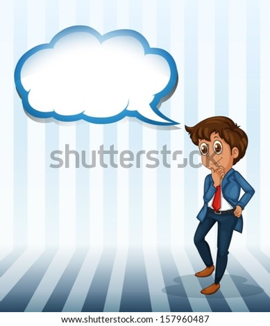 Illustration of a man thinking with an empty callout on a white background - stock vector