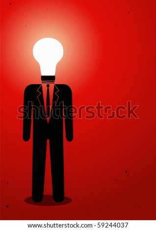 Illustration of a man with a light bulb instead of head - stock vector