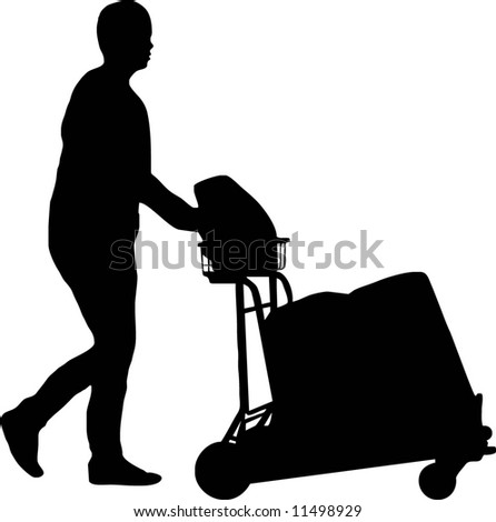 illustration of a man with trolley - stock vector