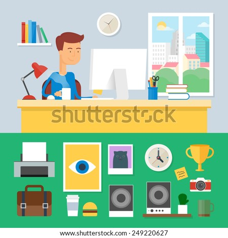 Illustration of a man working in office, interior design. Vector illustration - stock vector