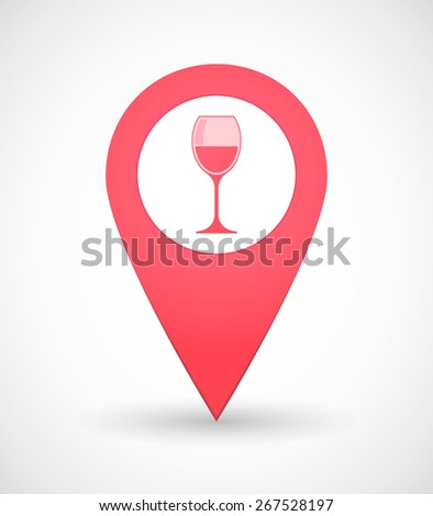 Illustration of a map mark icon with a cup of wine - stock vector