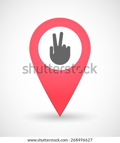 Illustration of a map mark icon with a victory hand - stock vector