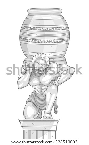 Illustration of a Marble Statue of a Man Carrying a Jar on His Shoulders - stock vector