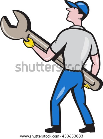 Illustration of a mechanic carrying giant spanner looking up to the side viewed from rear set on isolated white background done in cartoon style.  - stock vector