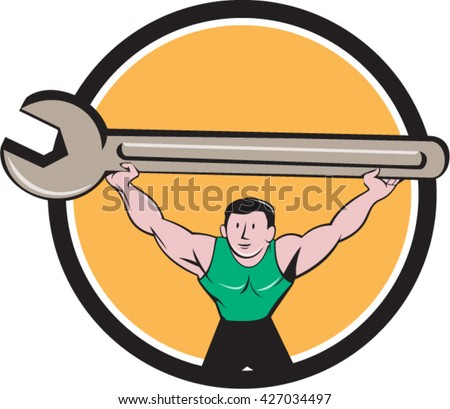 Illustration of a mechanic lifting giant spanner wrench over head viewed from front set inside circle on isolated background done in cartoon style.  - stock vector