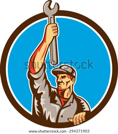 Illustration of a mechanic lifting raising up spanner wrench looking to the side set inside circle on isolated background done in retro style.  - stock vector