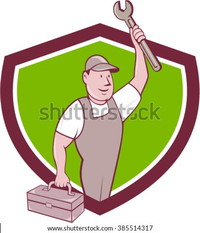 Illustration of a mechanic wearing hat and overalls lifting raising up spanner wrench holding toolbox looking to the side viewed from front set inside shield isolated background done in cartoon style - stock vector