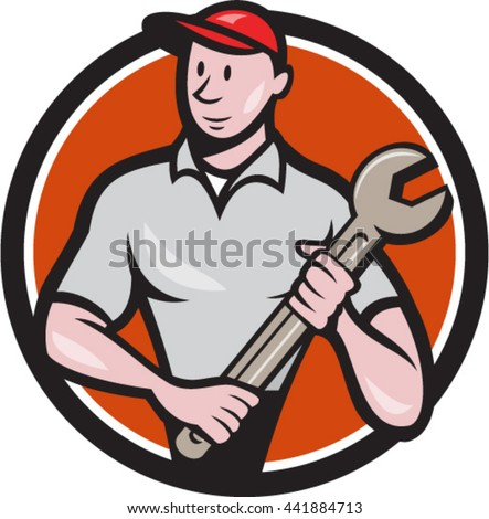 Illustration of a mechanic worker standing looking to the side carrying spanner viewed from front set inside circle on isolated done in cartoon style.  - stock vector