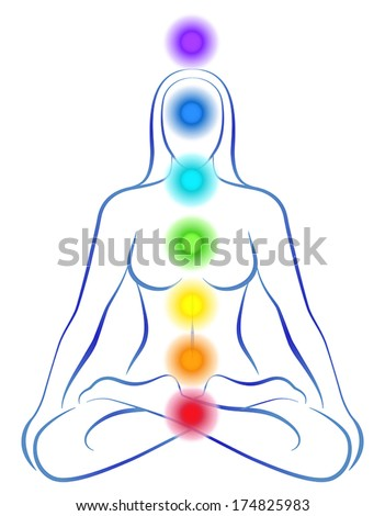Illustration of a meditating woman in yoga position with the seven main chakras. - stock vector