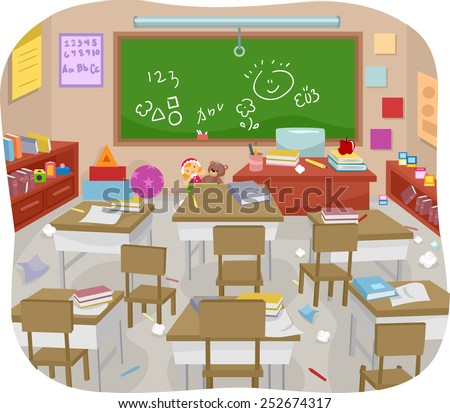 Illustration of a Messy and Disorganized Classroom - stock vector
