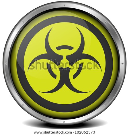 illustration of a metal framed biohazard icon, eps10 vector - stock vector