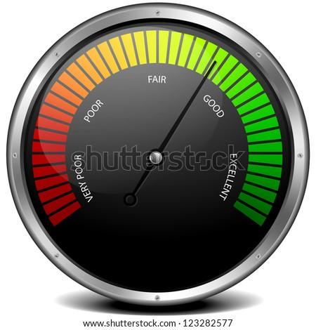 illustration of a metal framed customer satisfaction meter, eps10 - stock vector
