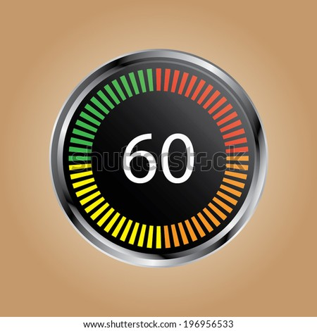illustration of a metal framed digital stop watch showing 60s - stock vector