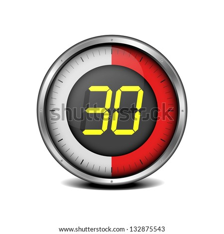 illustration of a metal framed timer with the number 30, eps10 vector - stock vector