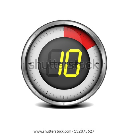 illustration of a metal framed timer with the number 10, eps10 vector - stock vector