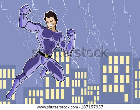 Illustration of a mighty superhero in a bright costume - stock vector