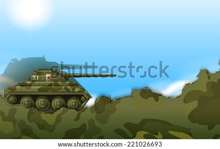 Illustration of a military tank - stock vector