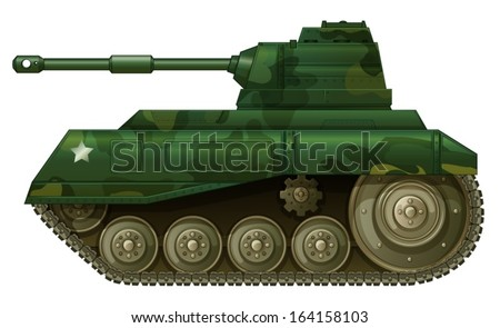 Illustration of a military tank on a white background - stock vector