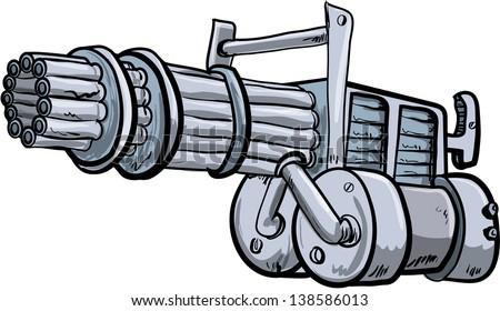 Illustration of a mini gun. Isolated on white - stock vector
