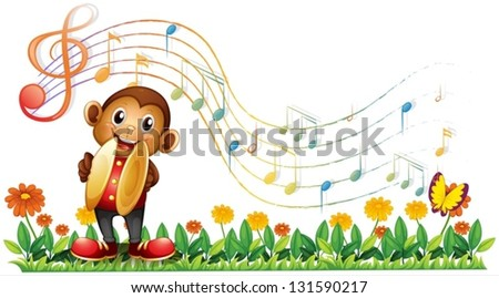 Illustration of a monkey playing with the cymbals on a white background - stock vector