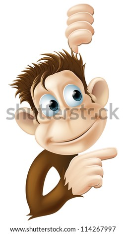 Illustration of a monkey pointing and looking at something - stock vector