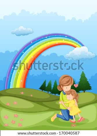 Illustration of a mother and a child hugging near the rainbow - stock vector