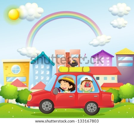 Illustration of a mother and child in a car with a bird - stock vector