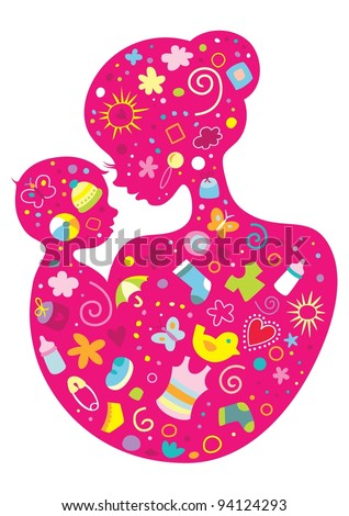 Illustration of a mother and her child with various baby objects. - stock vector