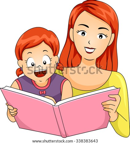 Illustration of a Mother Reading a Storybook to Her Daughter - stock vector