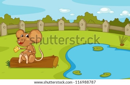 illustration of a mouse in a beautiful nature - stock vector