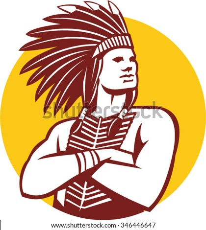 Illustration of a native american indian chief wearing feather headdress with arms folded looking to the side viewed from front done in retro style set inside circle on isolated background. - stock vector