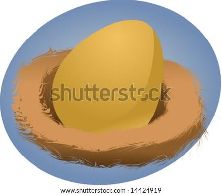 Illustration of a nest egg, golden egg in a nest - stock vector