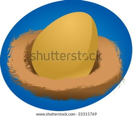 Illustration of a nest egg, golden egg in a nest vector - stock vector