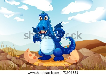 Illustration of a newly hatched dragon - stock vector