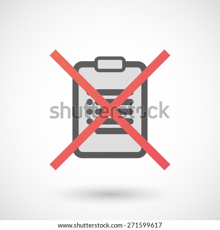 Illustration of a not allowed icon with an clipboard - stock vector