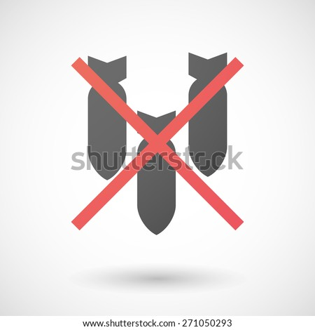 Illustration of a not allowed icon with bombs - stock vector