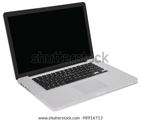 Illustration of a notebook computer - stock vector