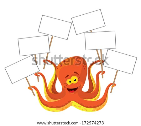 illustration of a octopus with a sign - stock vector