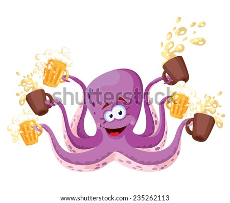 illustration of a octopus with beer - stock vector