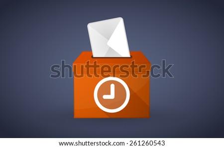 Illustration of a Orange ballot box with a clock - stock vector