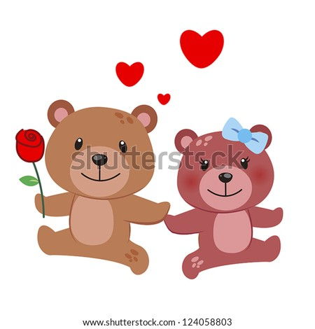 illustration of a pair of bear huddled together - stock vector