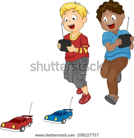 Illustration of a Pair of Boys Racing with Toy Cars - stock vector