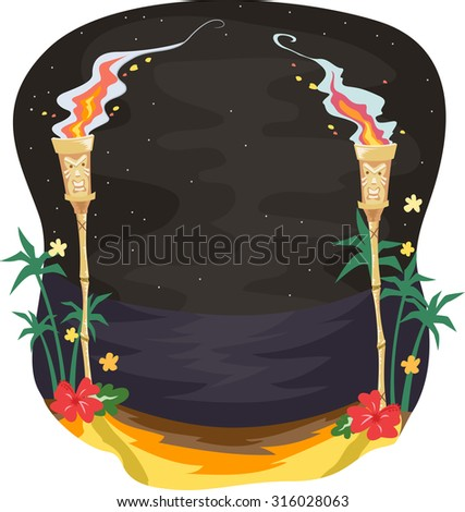 Illustration of a Pair of Tiki Torches Lighting the Path Towards the Beach - stock vector