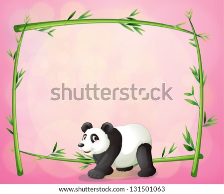 Illustration of a panda and the empty bamboo frame - stock vector