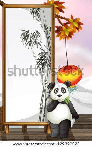 Illustration of a panda with a bamboo-designed frame - stock vector