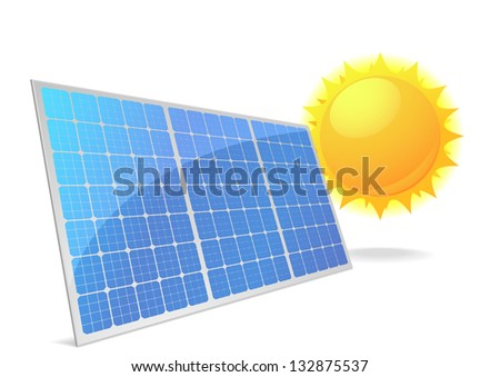 illustration of a panel with solar cells and reflection, eps10 vector - stock vector