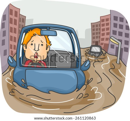Illustration of a Panicking Man Caught in the Middle of a Flash Flood  - stock vector