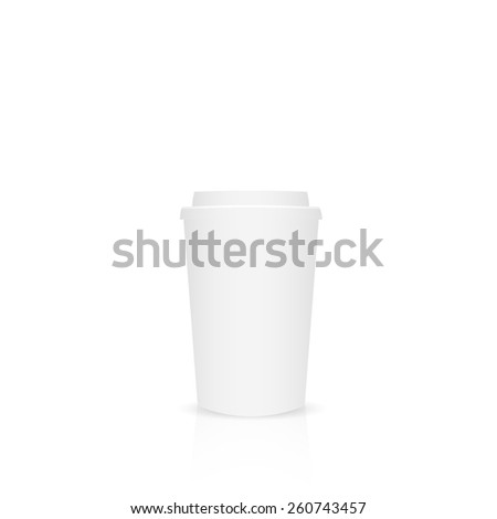 Illustration of a paper coffee cup isolated on a white background. - stock vector