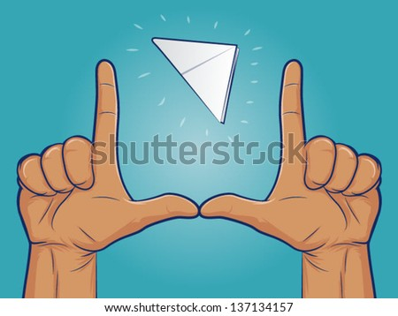 Illustration of a paper football flying the the upright finger goal posts - stock vector